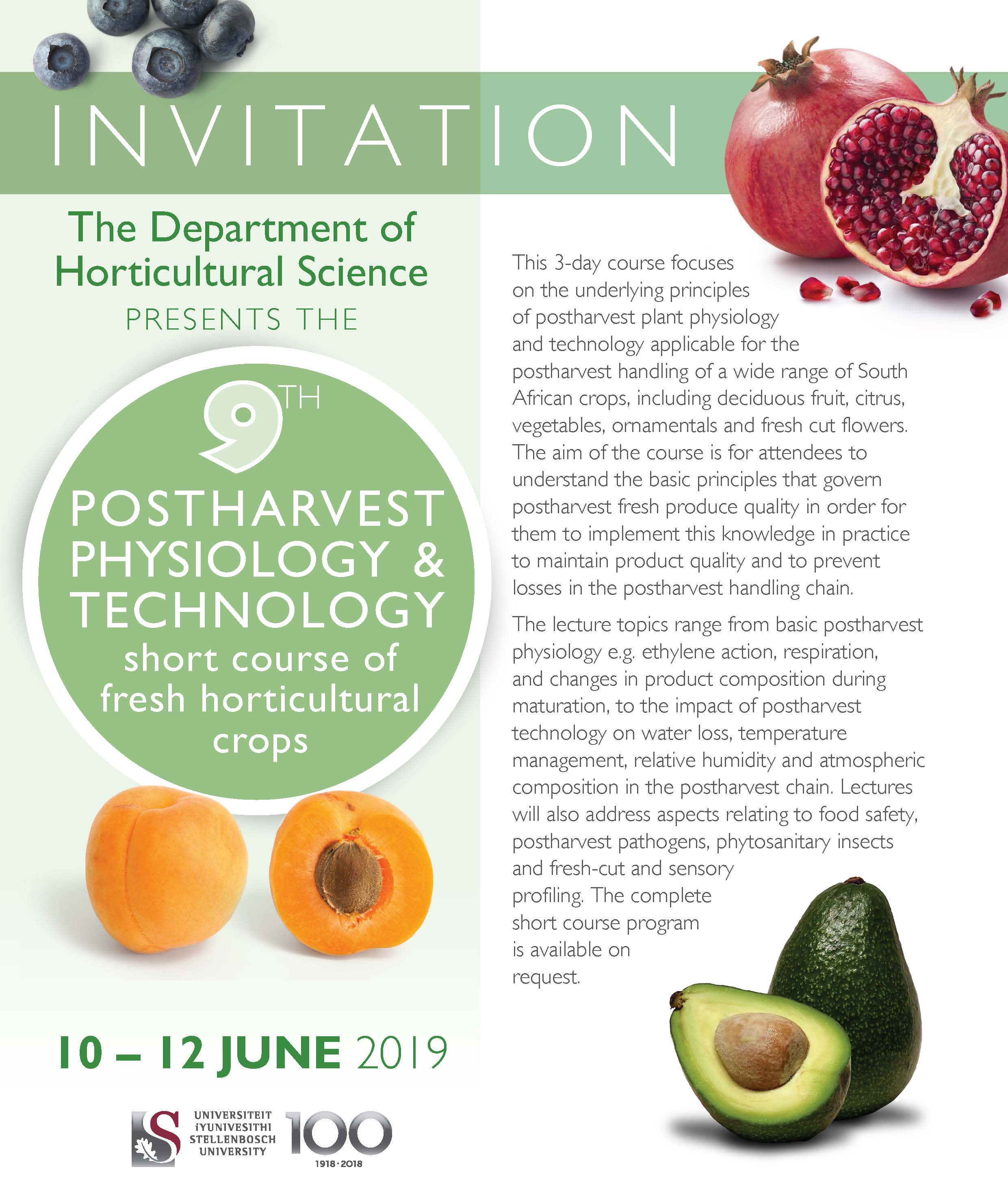 Postharvest Physiology & Technology Short course 2020 Date