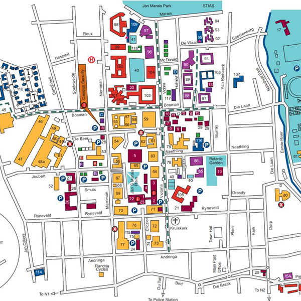 Navigate campus on open map, print map, scroll map, contact us map, zoom map, click map, measure map,